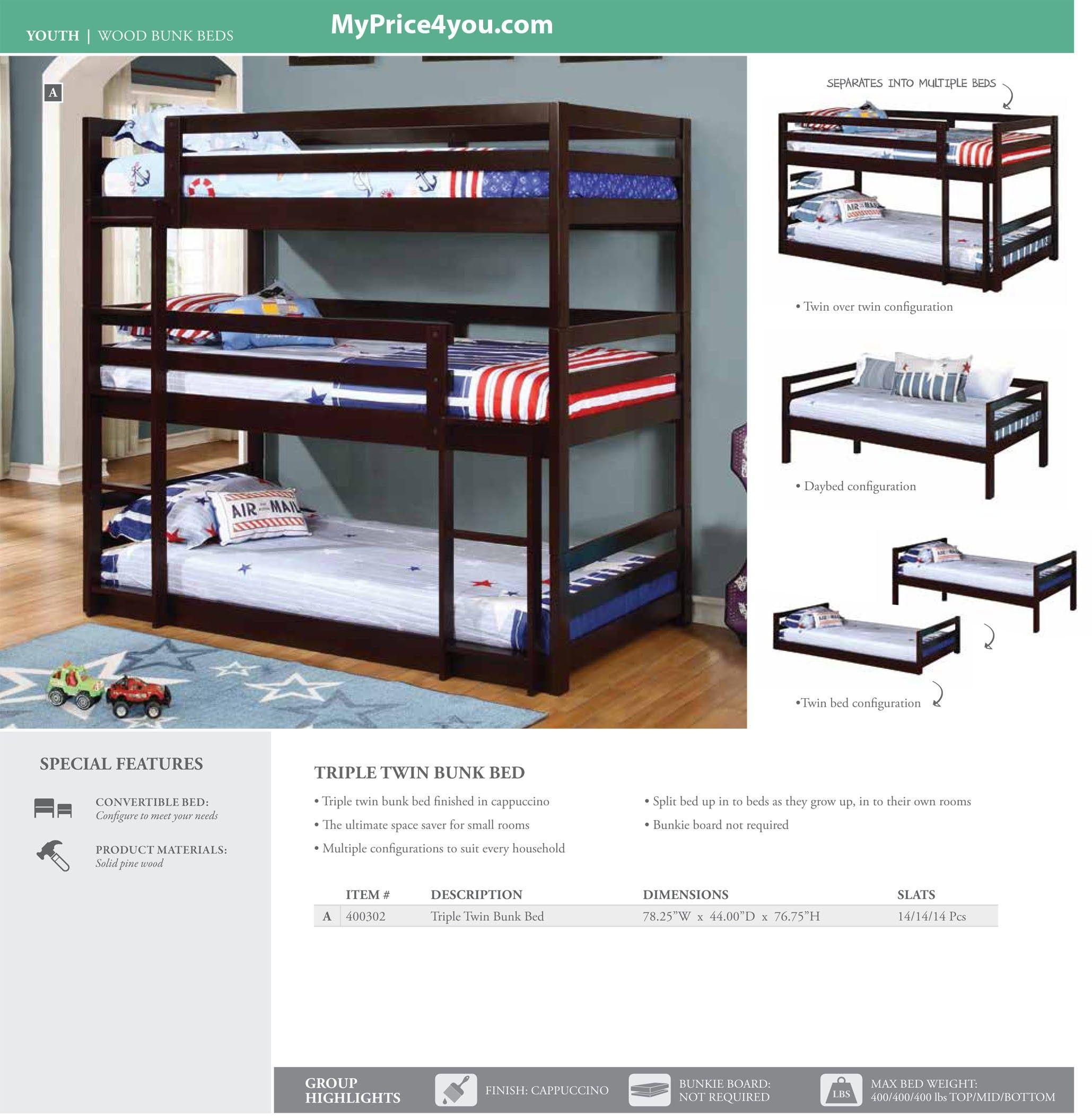 Triple Twin Bunk Bed Cuccino 400302 By Coaster