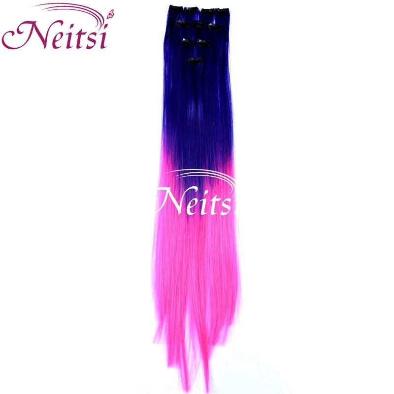 Neitsi 10pcs 20 50cm Ombre Party Highlights Synthetic Clip In