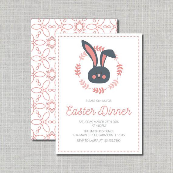 Easter Dinner Invitation   Easter Brunch Invite   Easter Meal