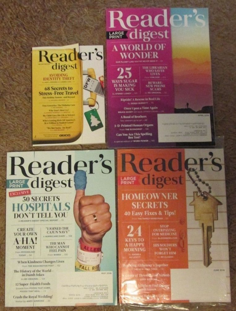 lot of 4 reader's digest magazines large print april may june 2018 ...