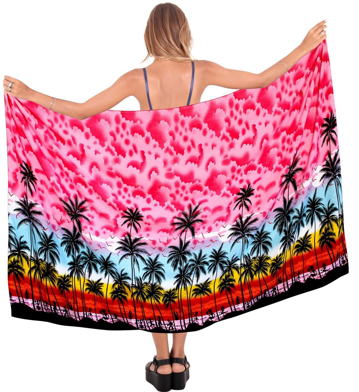 LA LEELA Beach Bikini Cover up Wrap Maxi Women Bathing Suit Sarong Pink_G262
