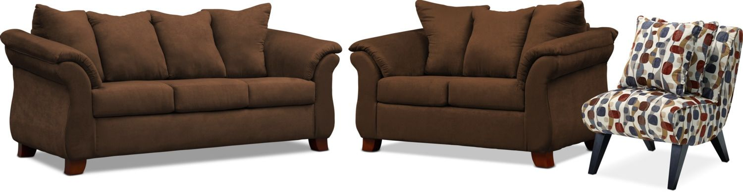 Marvelous Adrian Sofa Loveseat And Accent Chair Set Chocolate Brown Onthecornerstone Fun Painted Chair Ideas Images Onthecornerstoneorg