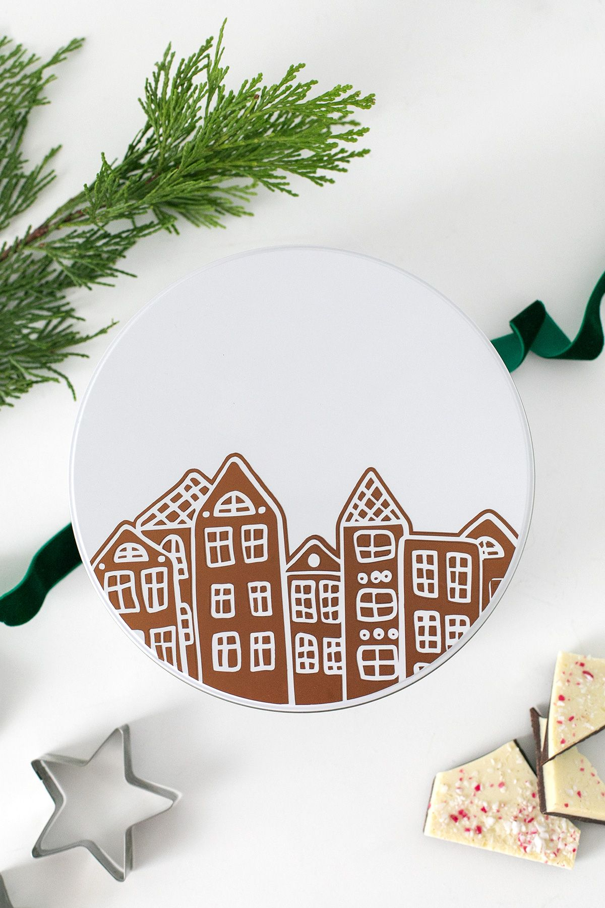 DIY Cookie Tin + Free SVG Gingerbread House File for Your