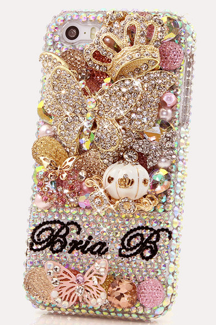 3D Butterfly Princess Personalized Name  amp  Initials Design bling iPhone  5s case - See more d14e38119