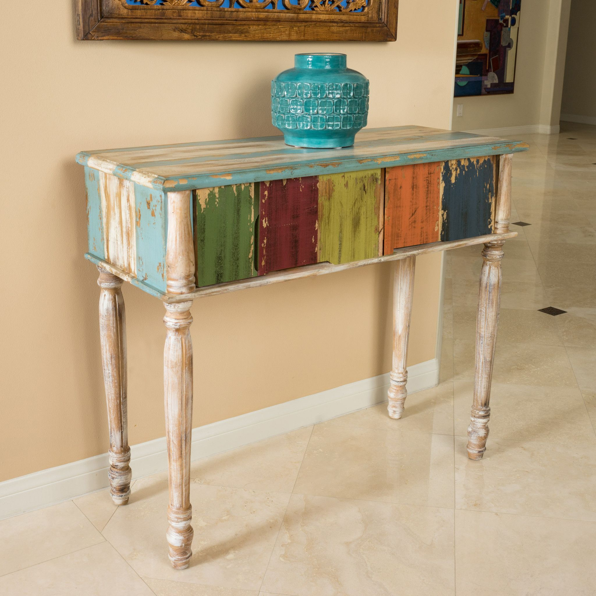 Leo Antique Multi Color Weathered Wood 2 Drawer Console Table Old Wood Table Rustic Console Tables Wood Console Table
