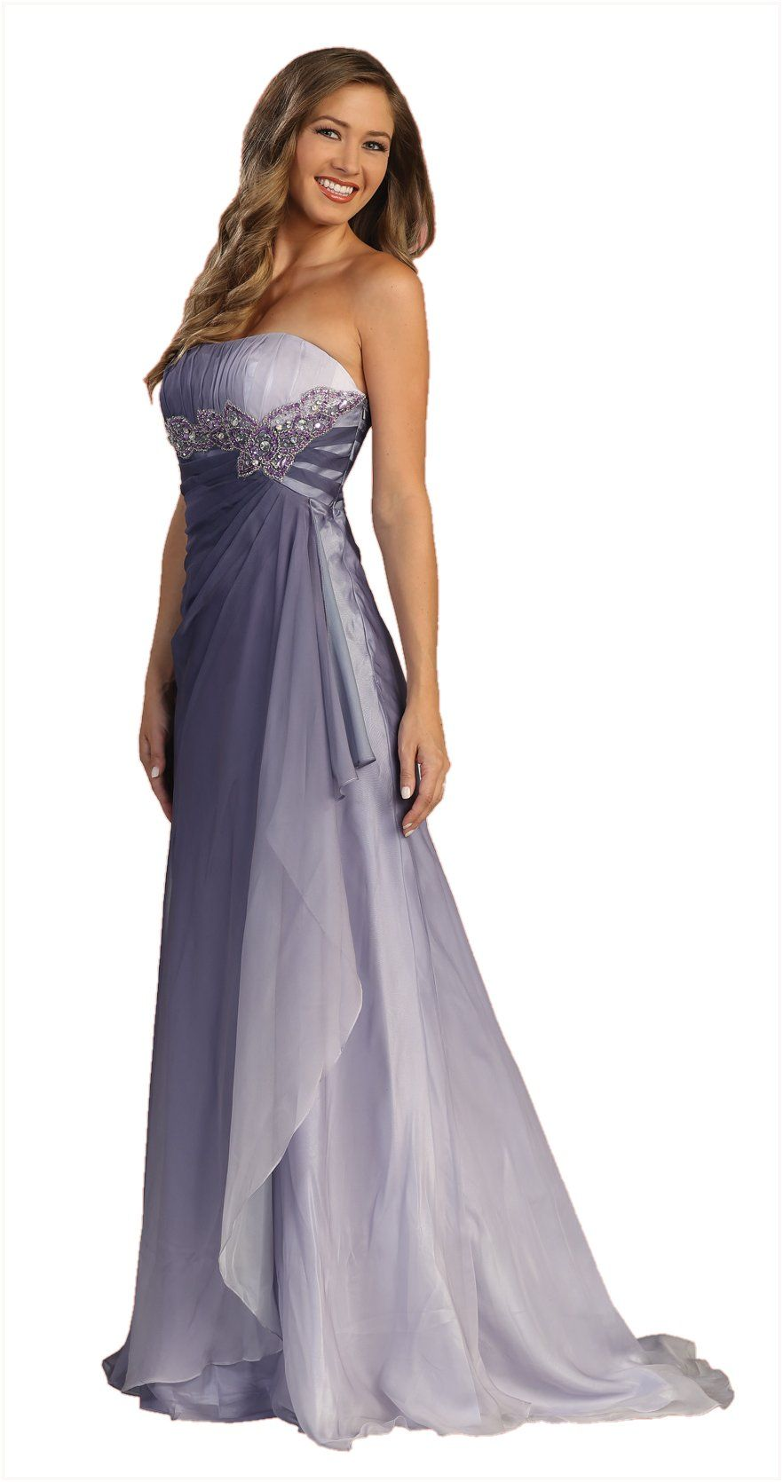 ON SPECIAL - LIMITED STOCK - Strapless Long Purple Ombre Formal ...