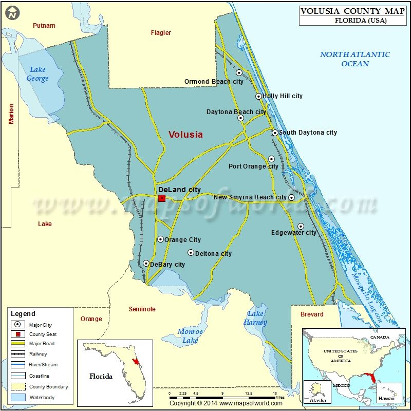 County Map Florida With Cities.Volusia County Map County Map Florida Usa Orange City
