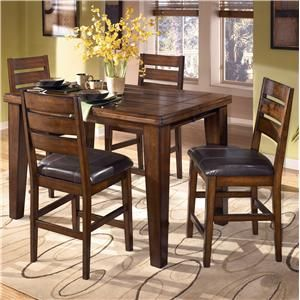 Signature Design By Ashley Larchmont Pub Table And 4 Bar Stools Counter Height Dining Room Tables Brown Dining Room Dining Room Design
