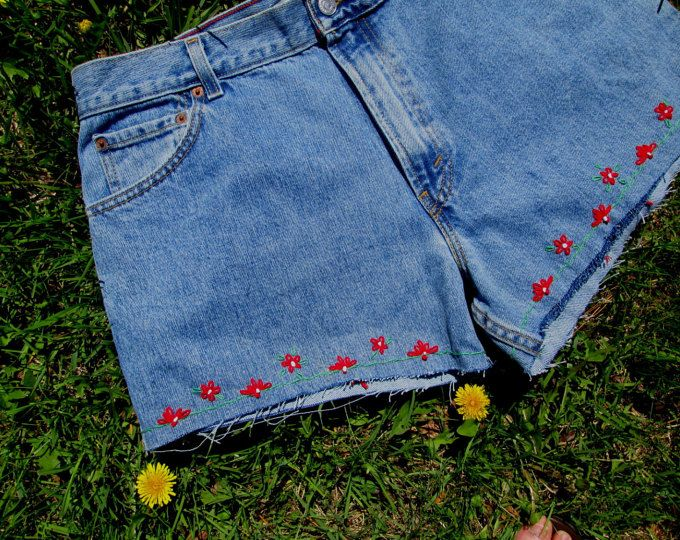 Blue Denim Jeans/Hippie Jeans/Hand Embroidered/Embellished/Beads ...