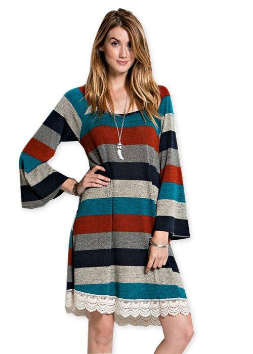 Multi Stripe Bell Sleeve Dress