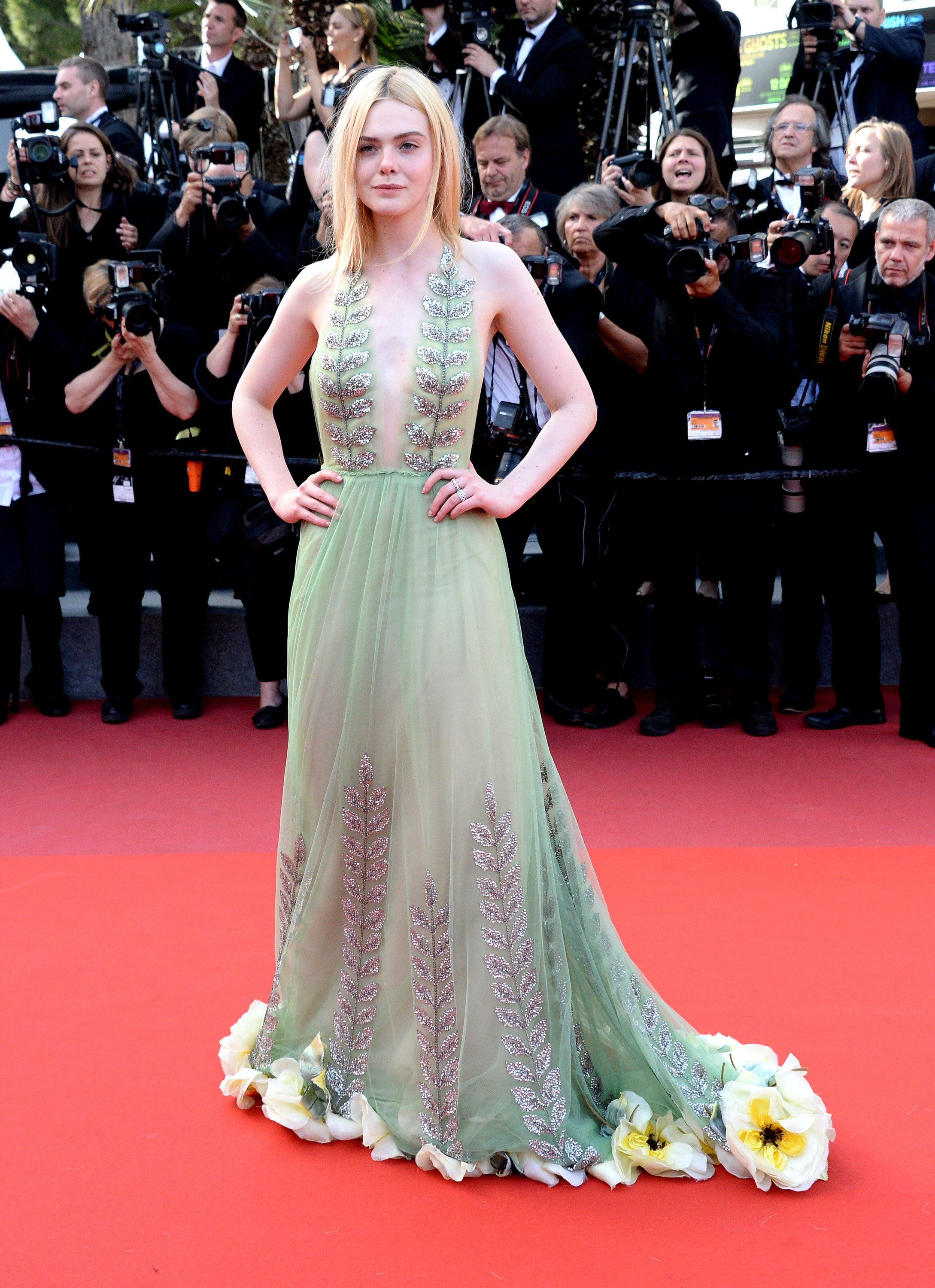 Elle Fanning Rocking Cannes 2017 With A Floral Train