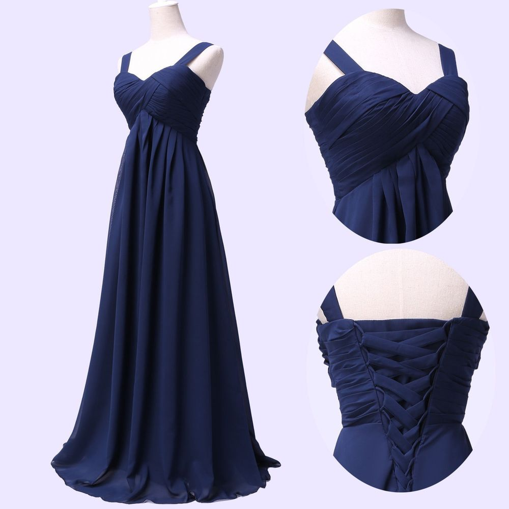 Sleeveless Long Wedding Party Gown Bridesmaid Prom Evening Cocktail Formal Dress #Unbranded #EmpireWaist #Formal