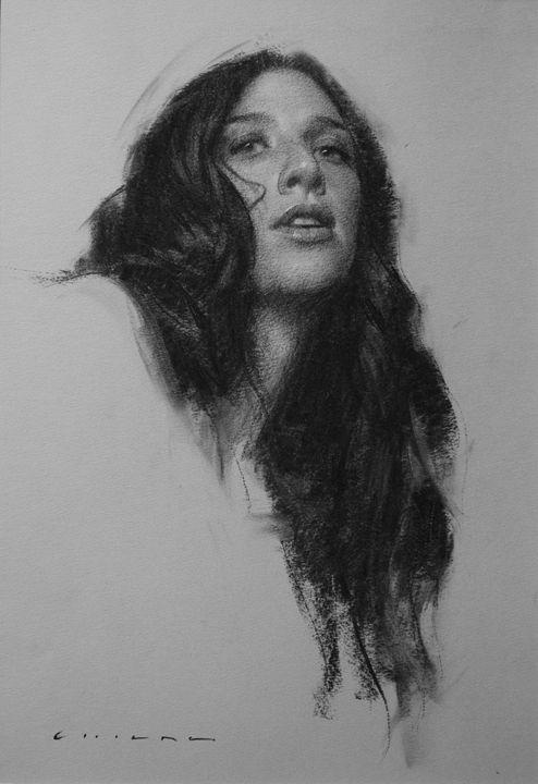 Рисунок углем портрет телосложением