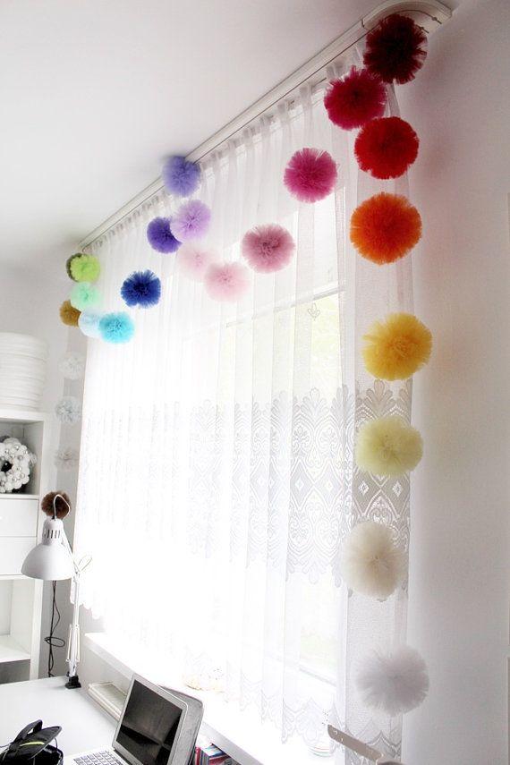 Baby Room Garland – Pom Pom Garland – Tulle Pom Pom – Window Garland – Baby Rainbow Garland – Nursery Decor – Nursery Garland Baby room
