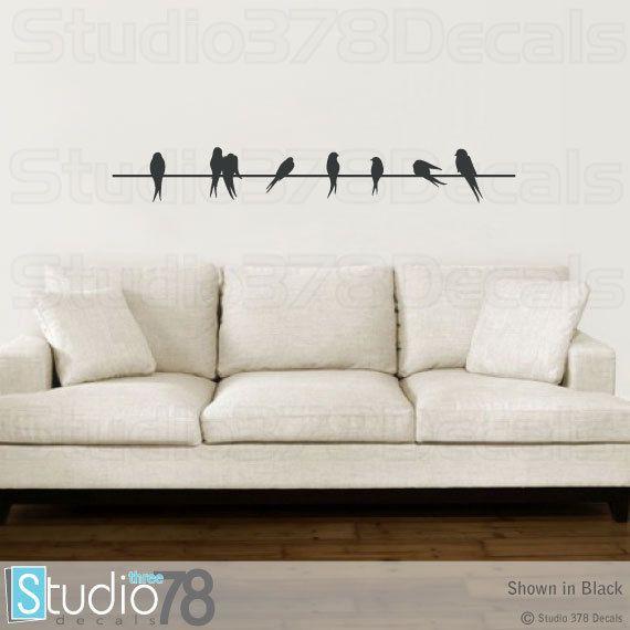 Birds On A Wire Vinyl Decal Home Decor Silhouette Love Birds - Make custom vinyl wall decalsvinyl wall decal sticker paint dripping s wall decals attic