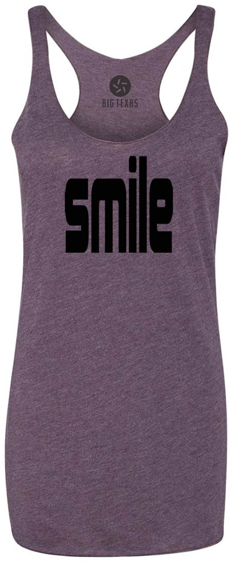 Smile (Black) Tri-Blend Racerback Tank-Top