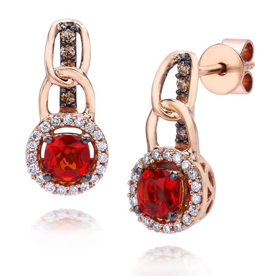 Fire opal earrings in rose gold with white and chocolate diamonds