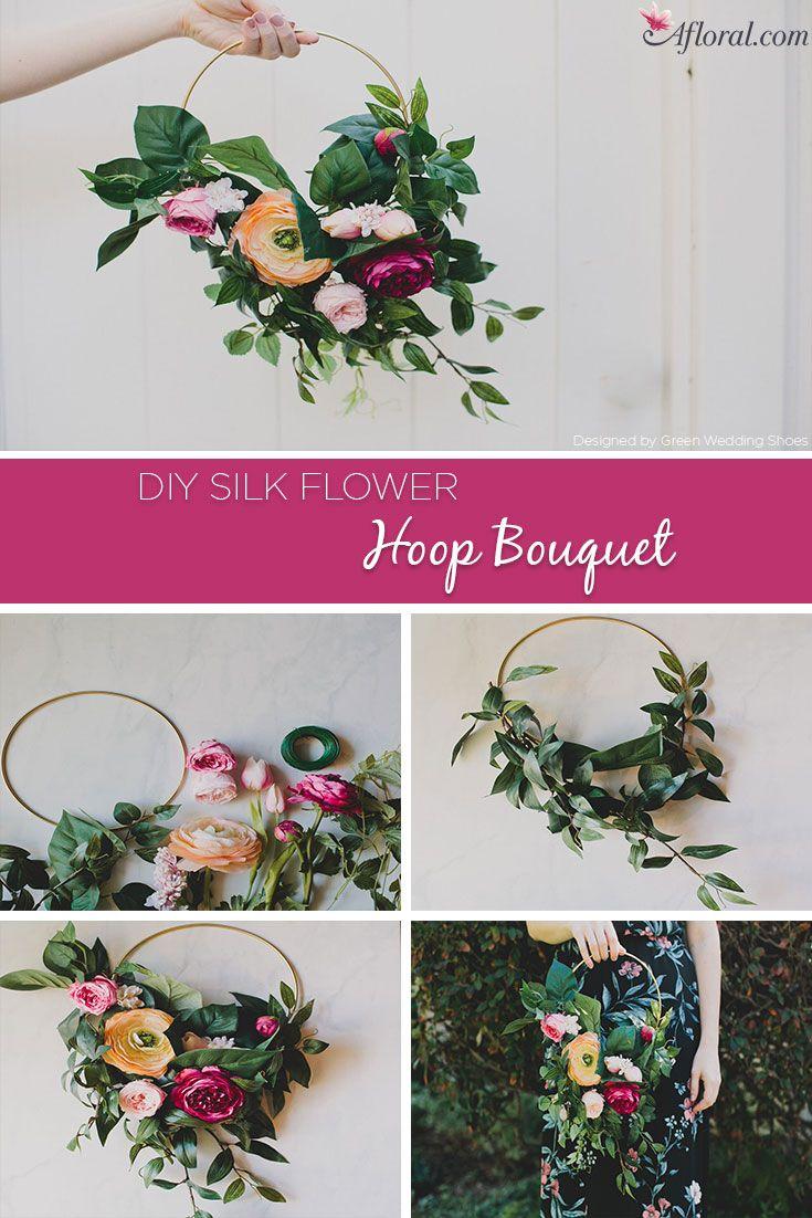 Diy Silk Flower Hoop Bouquet Vintage Wedding Pinterest Floral