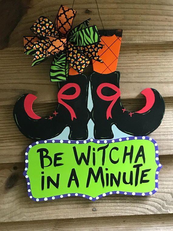 Witches Feet Door Hanger Etsy Burlap Halloween Halloween Door Hangers Christmas Yard Art