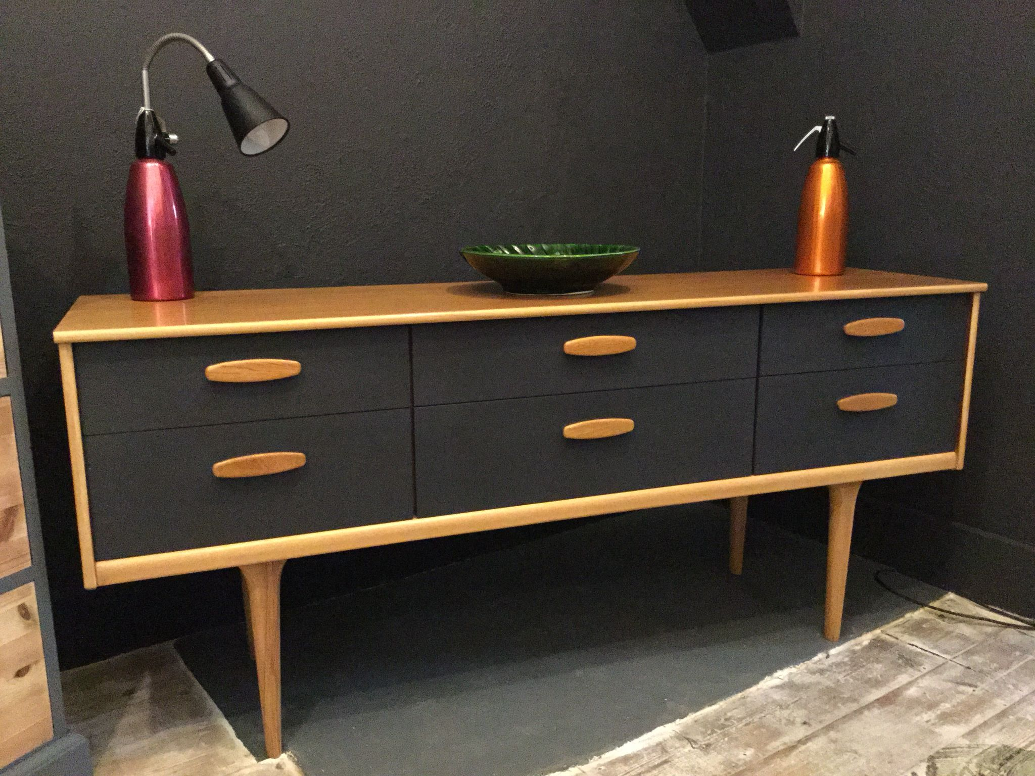 danish style retro sideboard painted in graphite by autentico paint more more