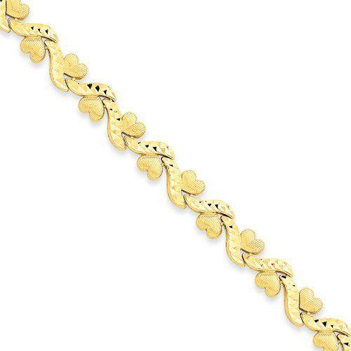 14k 7in Diamond-cut Fancy Etched Heart Bracelet Security Jewelers. $637.00