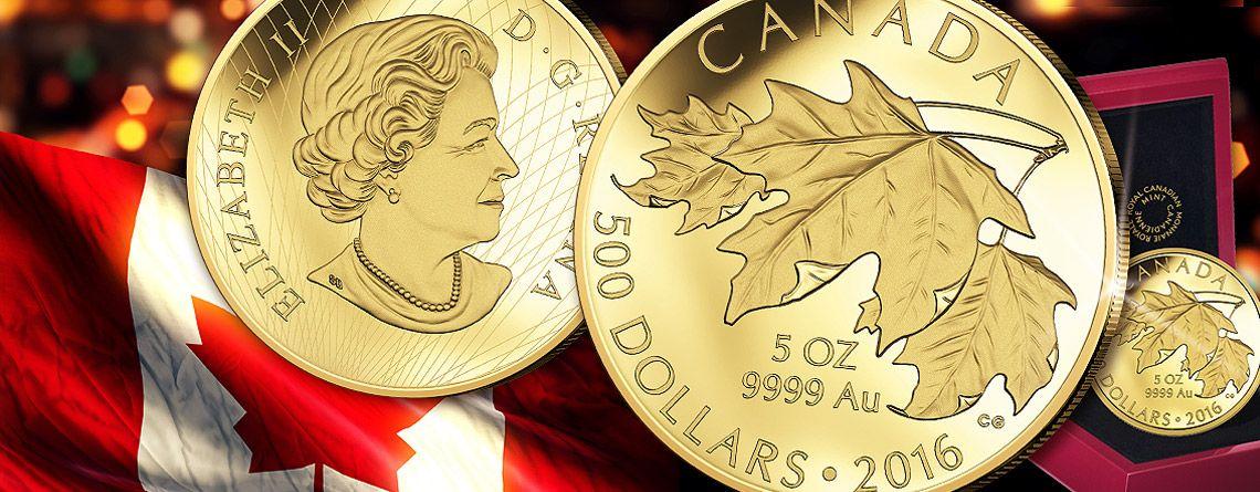 5oz Gold Maple Leaf 2016 Ausgegeben Rare Goldmunze Investment