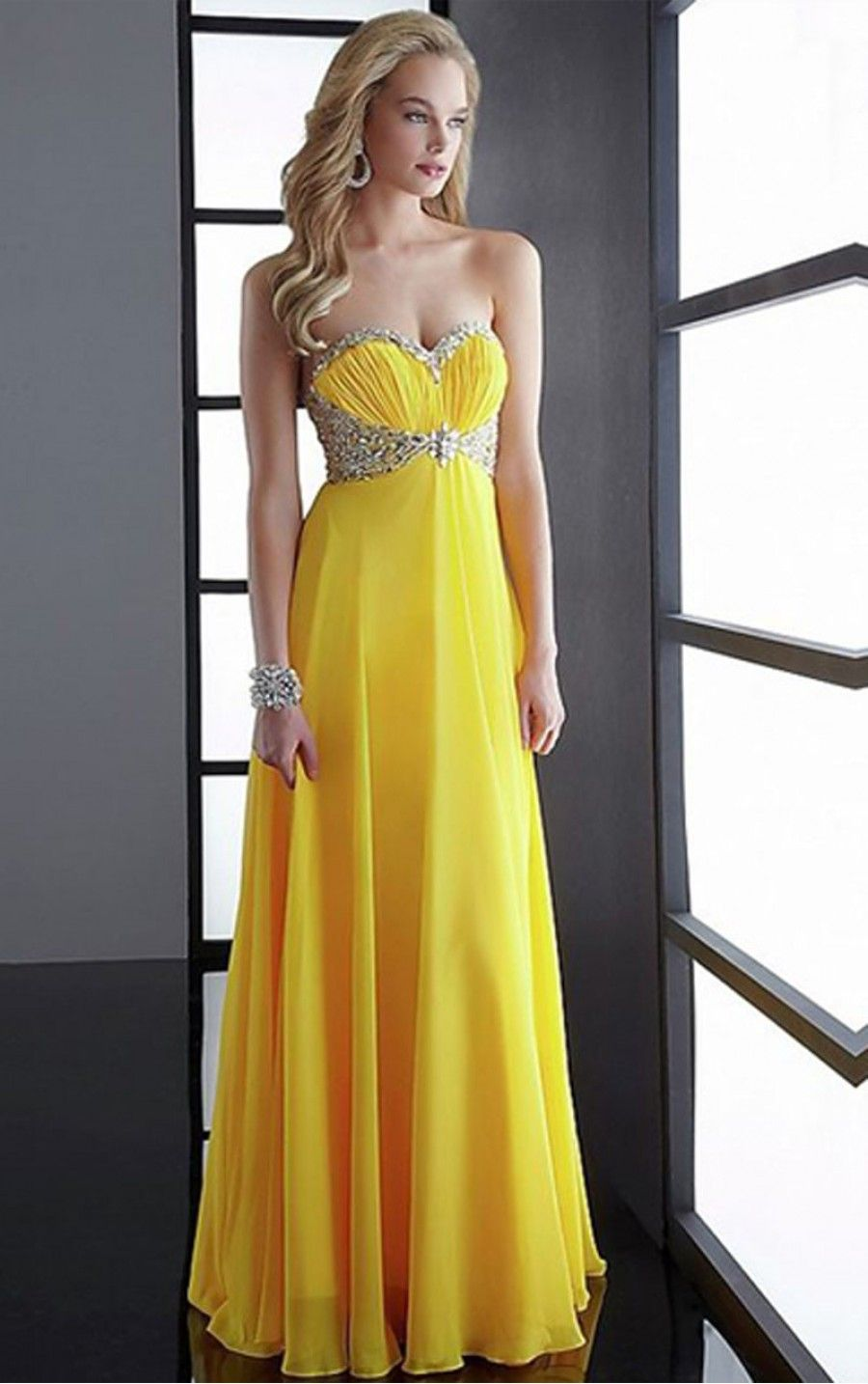 Patterned sequin top pleated yellow long prom dress patterned