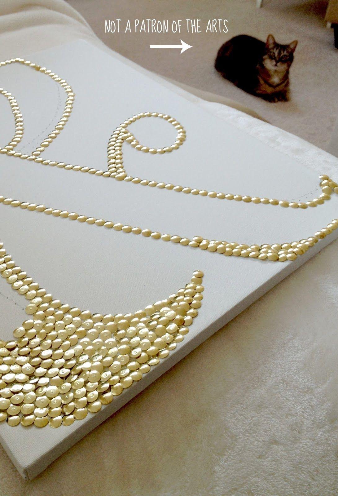 Canvas and gold thumbtacks - wall art DIY   Decorations ...