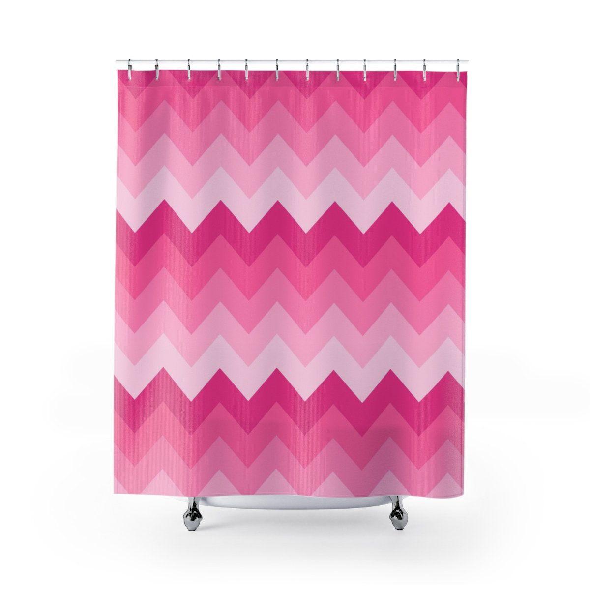 Hot Pink Chevron Shower Curtain Girls Bathroom Bath Tub Room Decor