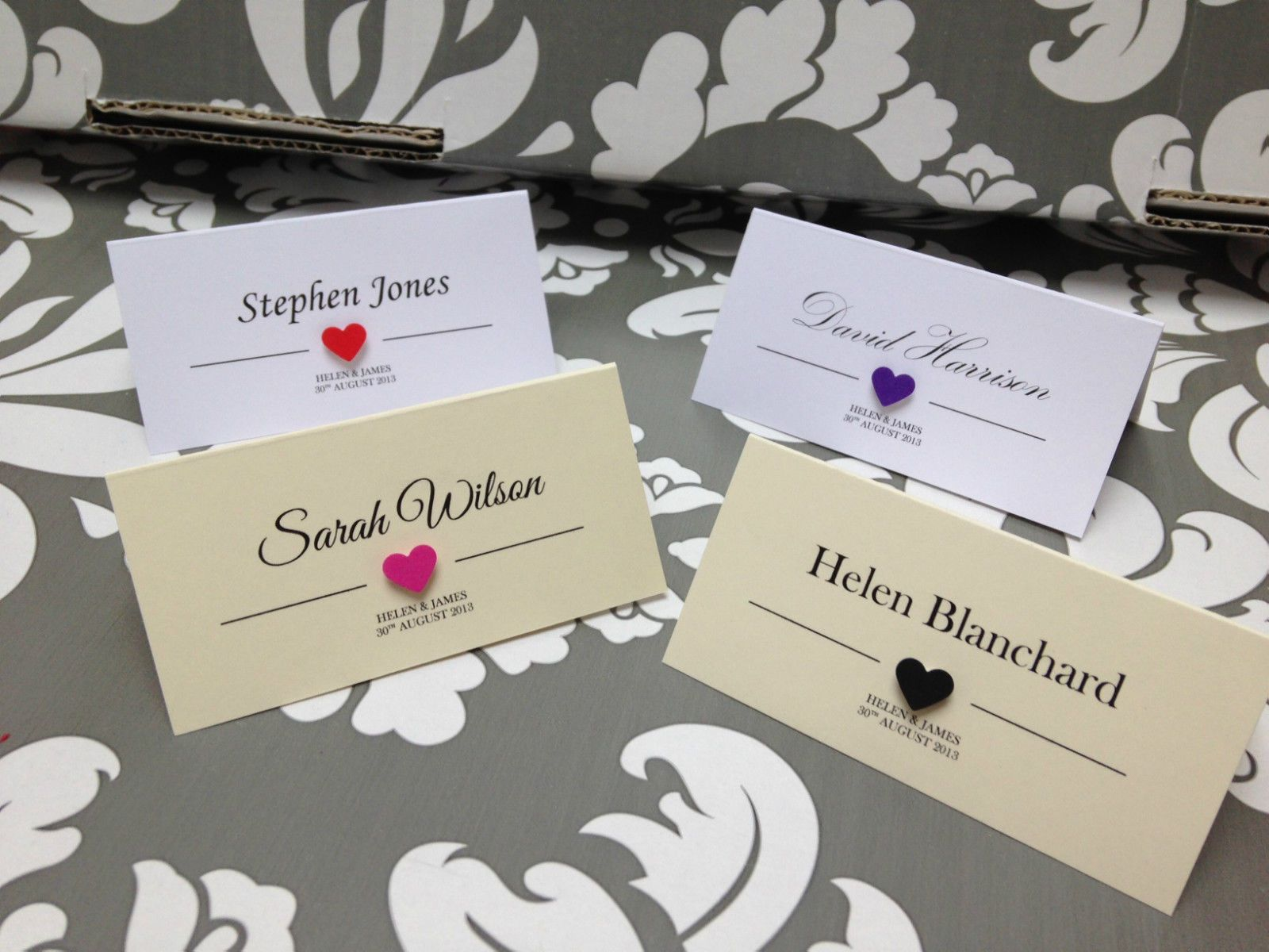 SAMPLE personalised wedding / party place name cards heart | Wedding
