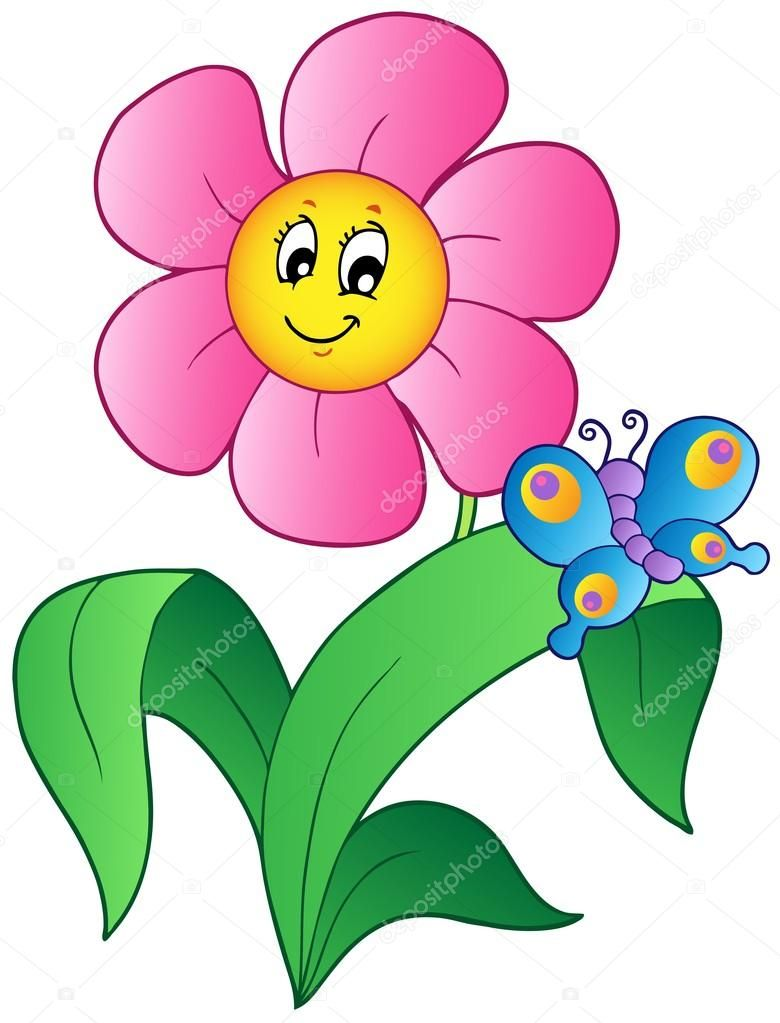 Cartoon flower with butterfly - vector illustration ...
