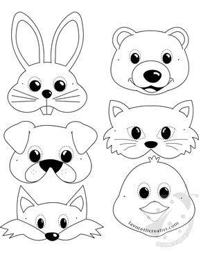 Maschere di animali per bambini da stampare e ritagliare - Immagini di animali dello zoo per bambini ...