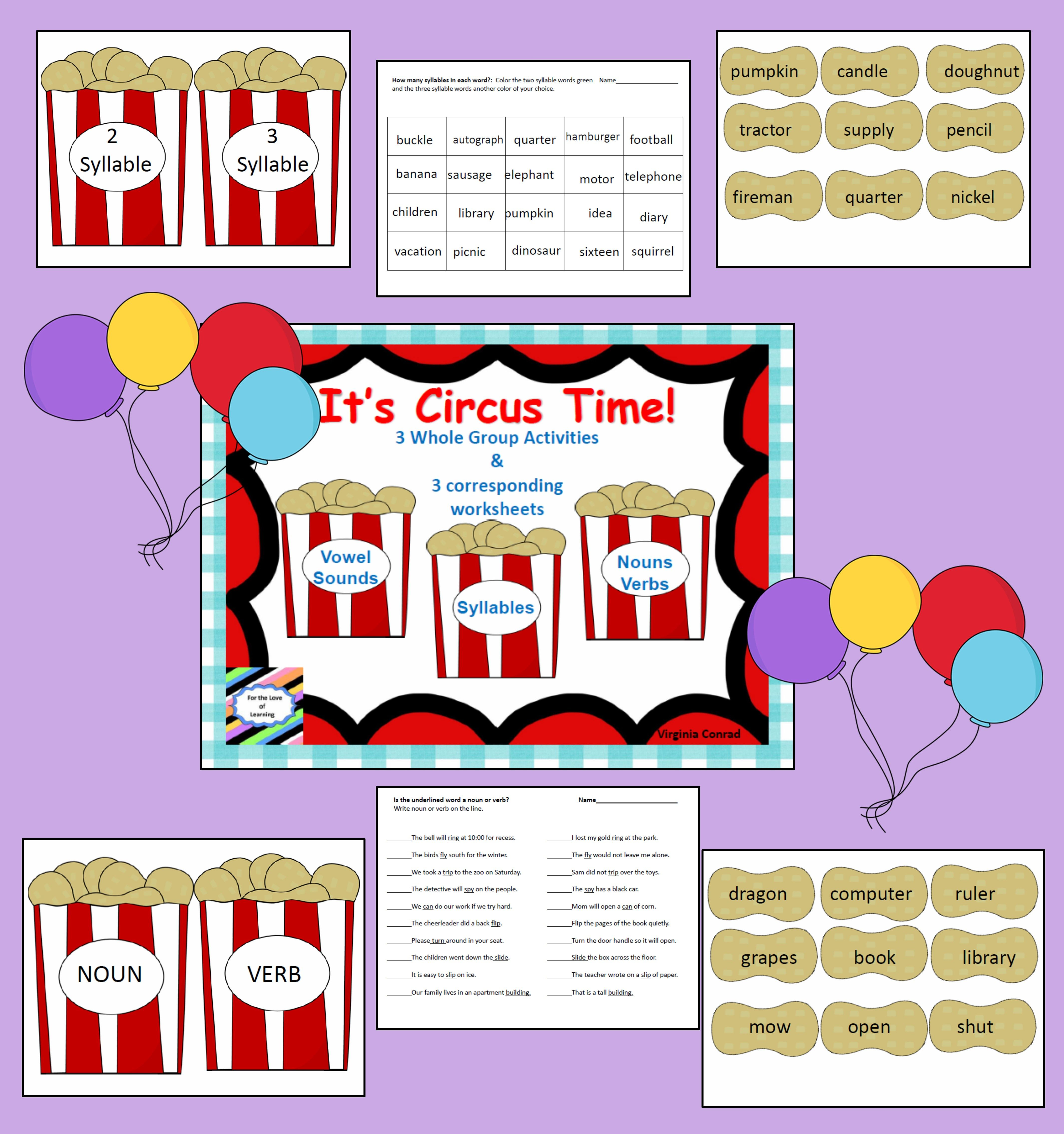 Reading Whole Group Activities Amp Worksheets Circus Theme