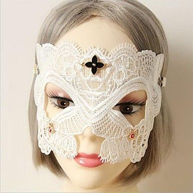 Handmade Half Face White Lace Halloween Party Mask – USD $ 9.99