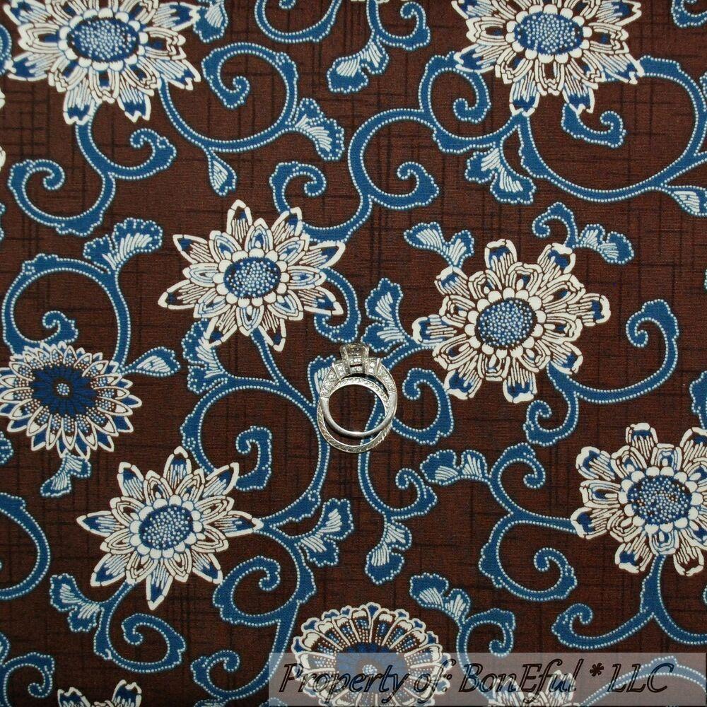 BonEful Fabric FQ Cotton Quilt Brown Blue Cream Flower Daisy Leaf Asian Hippie L