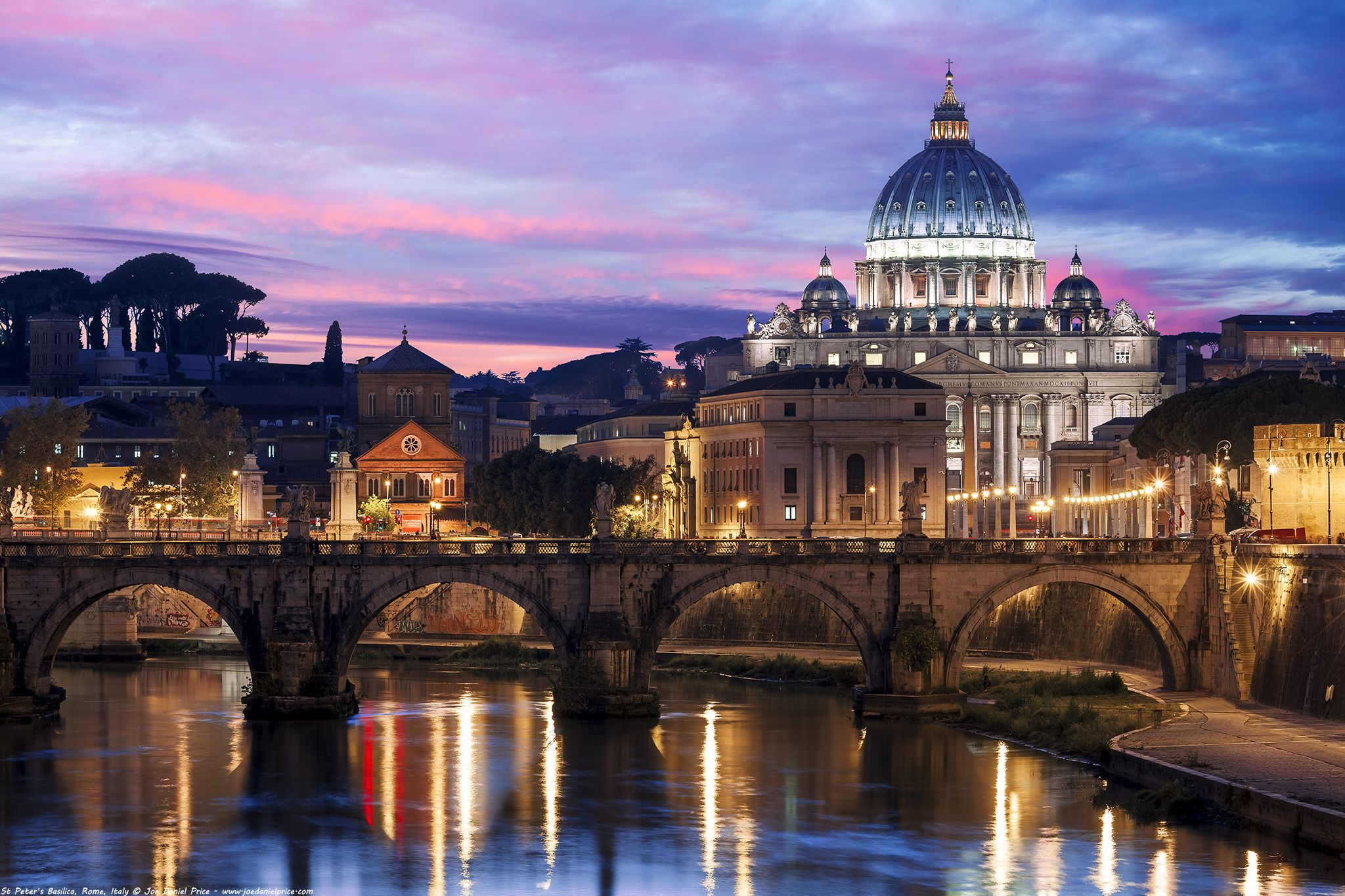 Beautiful Sunset St Peter S Basilica Vatican City Rome Italy