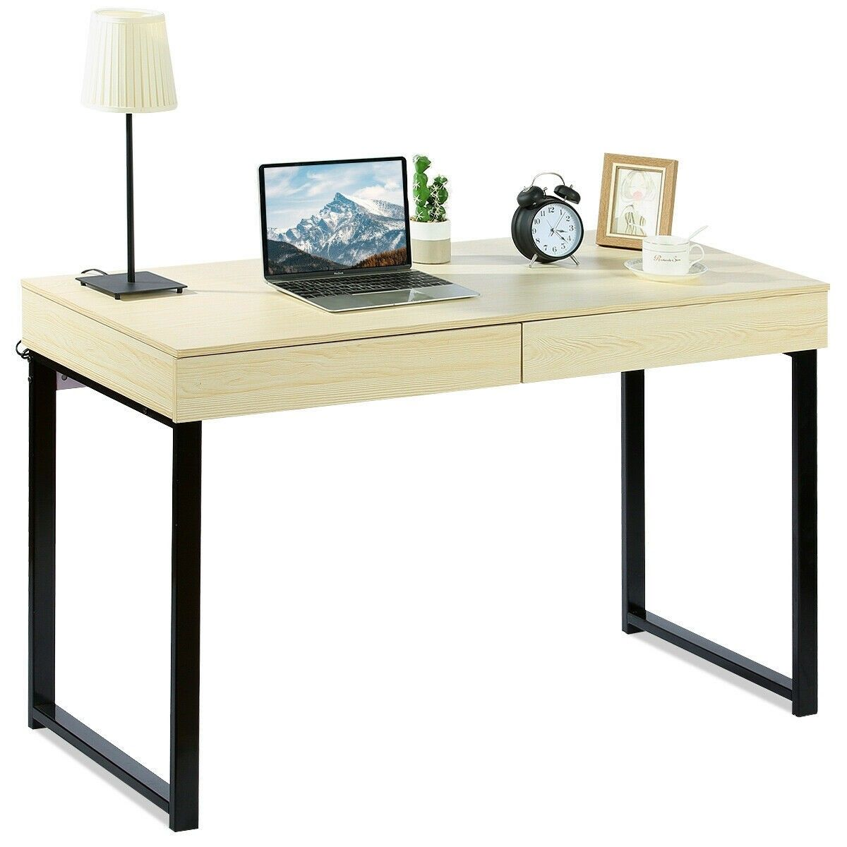 Simple Writing Desk Study Computer Desk With 2 Drawers Modern Computer Desk Simple Writing Desk Desk With Drawers