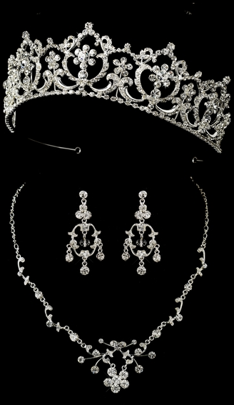 Regal Wedding or Quinceanera Tiara and Matching Jewelry Set on