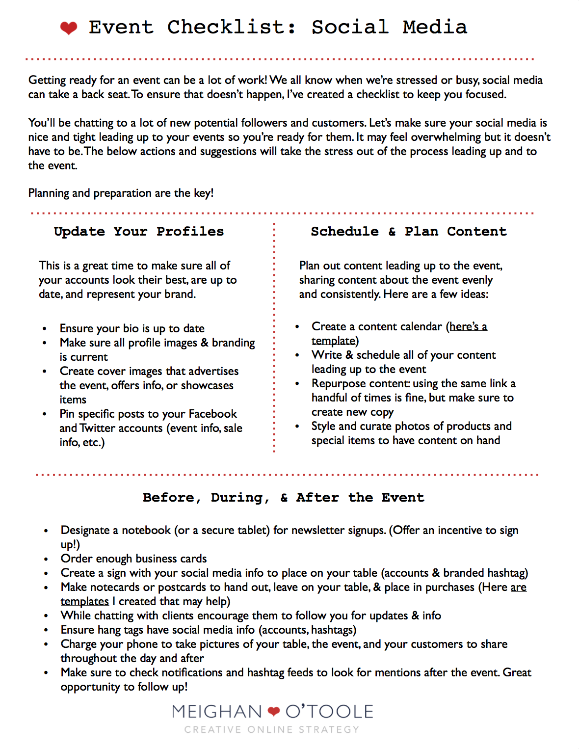 Free Printable Event Checklist For Social Media  Event Checklist