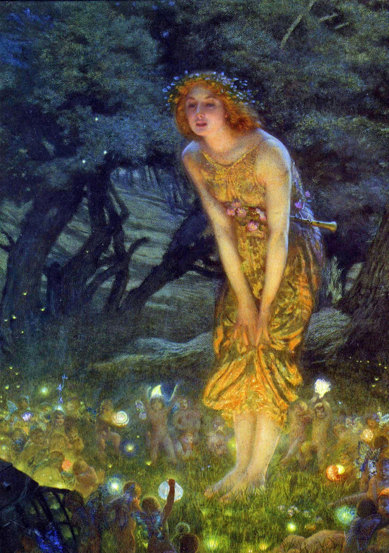 "Midsummer Night's Dream"" Edward Robert Hughes watercolor 1908  https://ift.tt/2JhuLPz | Pinturas de hadas, Arte famoso, Arte de hadas"