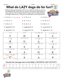 Point slope practice fun engaging puzzle activity education this is a 15 question puzzle on finding the point slope equation given the slope and 1 point and given the slope and 2 points students need to an ccuart Gallery