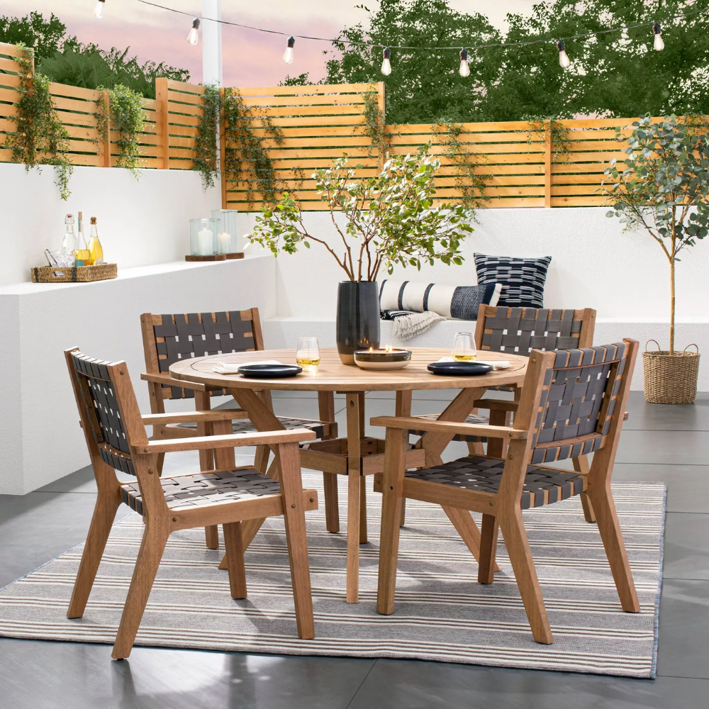 Bluffdale 10 Person Wood Round Patio Dining Table   Threshold ...