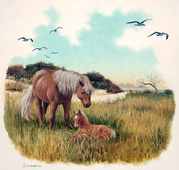 """""""By the Sea"""" vignette, Original oil painting by Ruth Sanderson from Hush, Little Horsie is available at the R. Michelson Galleries."""