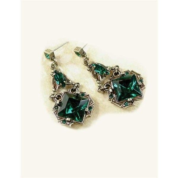 Dubliner Faux Emeralds Earrings 25 Liked On Polyvore Featuring Jewelry Fake Emerald Imitation