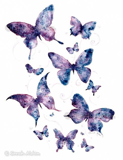 0d64f2dbf84 Watercolor Butterfly Art - Purple Fantasy Print - Butterflies Painting  Silhouette 5x7 by Sarah Alden by