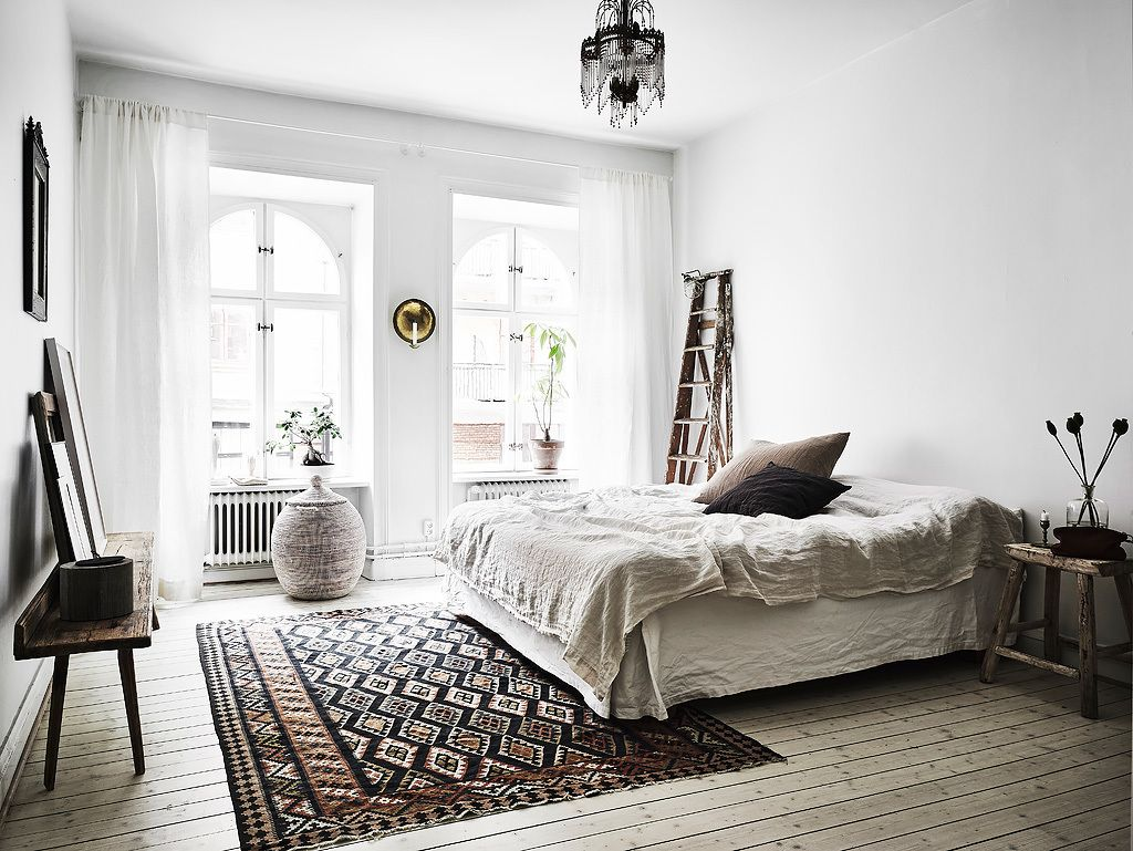 Scandinavian boho white, neutral bedroom with textured