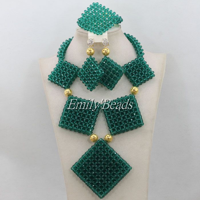 African Wedding Beads Bridal Jewelry Sets Crystal Teal Green ...