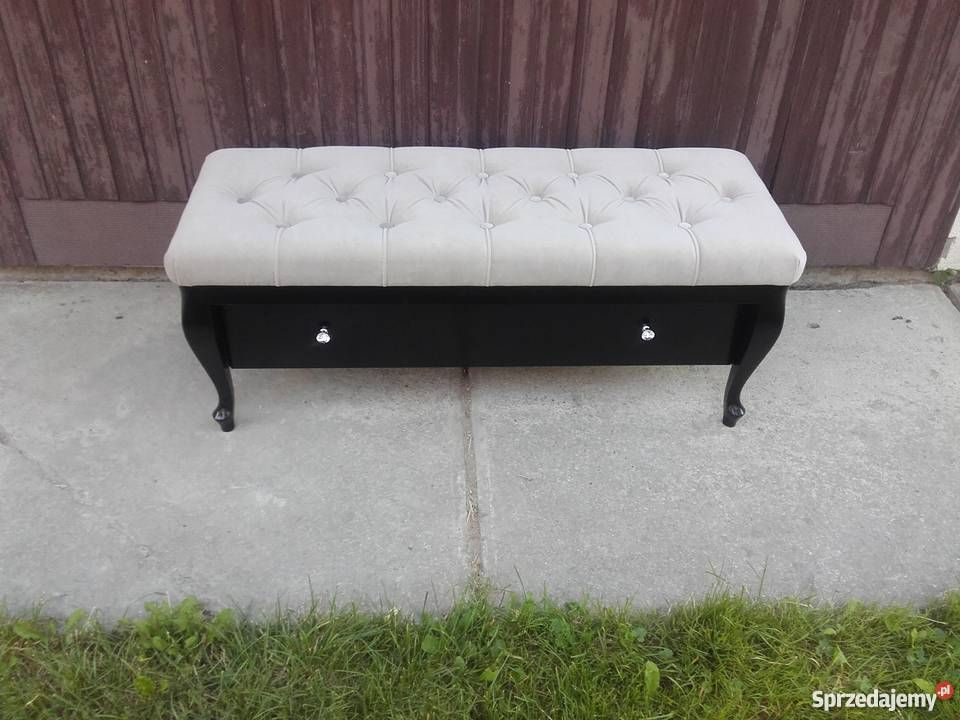 Laweczka Pikowana Lawka Pufa Duza Szuflada Glamour Furniture Sofa Storage Bench