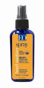 Hand Sanitizer Spray 2 Oz Organic Sweet Orange Natural Hand