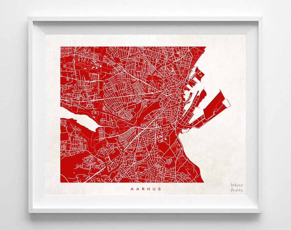Map Posters By Inkist Prints! Modern Aarhus Denmark Street Map Print In 70  Different Colors, Perfect For Anyone Who Loves To Travel Or Is Away From  Home